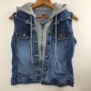 Denim Hoodie Vest Size Small Jean Vest with Hood